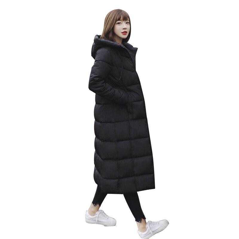 M-6XL Jackets Thickened Long Cotton Padded Women 2018 Winter Coat Super Long Knee Waterproof Windproof   Parkas   large size F1009