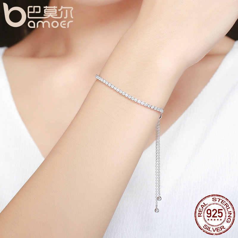 BAMOER polecane marki oferty 925 Sterling srebrna iskrząca Strand bransoletka kobiety Link bransoletka tenisowa biżuteria srebrna SCB029