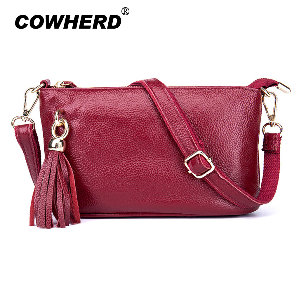 High Quality COWHERD Genuine Leather Shoulder Bag New Women Messenger Bags Lady Casual Handbag Fashion Female Crossbody Bag fashion genuine leather bag bolsas tassel women handbag 2015 casual crossbody bag popular shoulder bag new women messenger bags