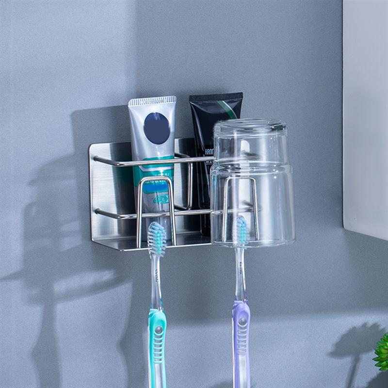 Image 3 - Self Adhesive Toothbrush Bathroom Organizer Stainless Steel Storage Rack Wall Mounted Toothbrush Holder Bathroom Accessories-in Toothbrush & Toothpaste Holders from Home & Garden