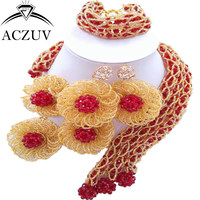ACZUV Latest Exaggerated Big Choker Necklace for Women African Jewelry Set Wine Gold Crystal Nigerian Beads C3F018
