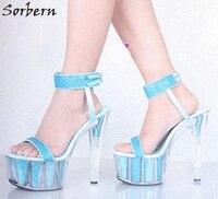 Sorbern Sky Blue Glitter Party Sandals High Heels Slingbacks Open Toe Clear Platform 15Cm Spike Heels