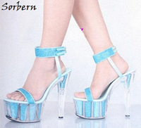 Sorbern Sky Blue Glitter Party Sandals High Heels Slingbacks Open Toe Clear Platform 15Cm Spike Heels