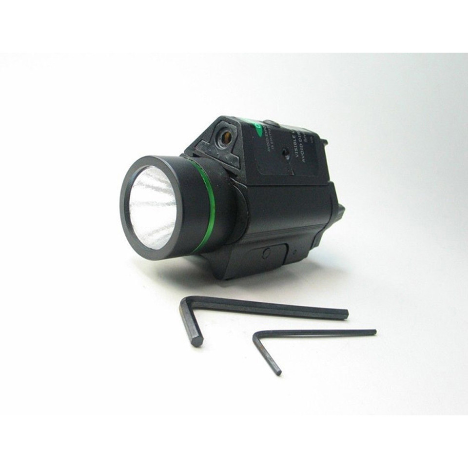 Tactical Green Laser Sight with LED Flashlight 2 in 1 Combo 20mm Mount Ultra Bright 225 lumen for Glock 17 Hunting-1
