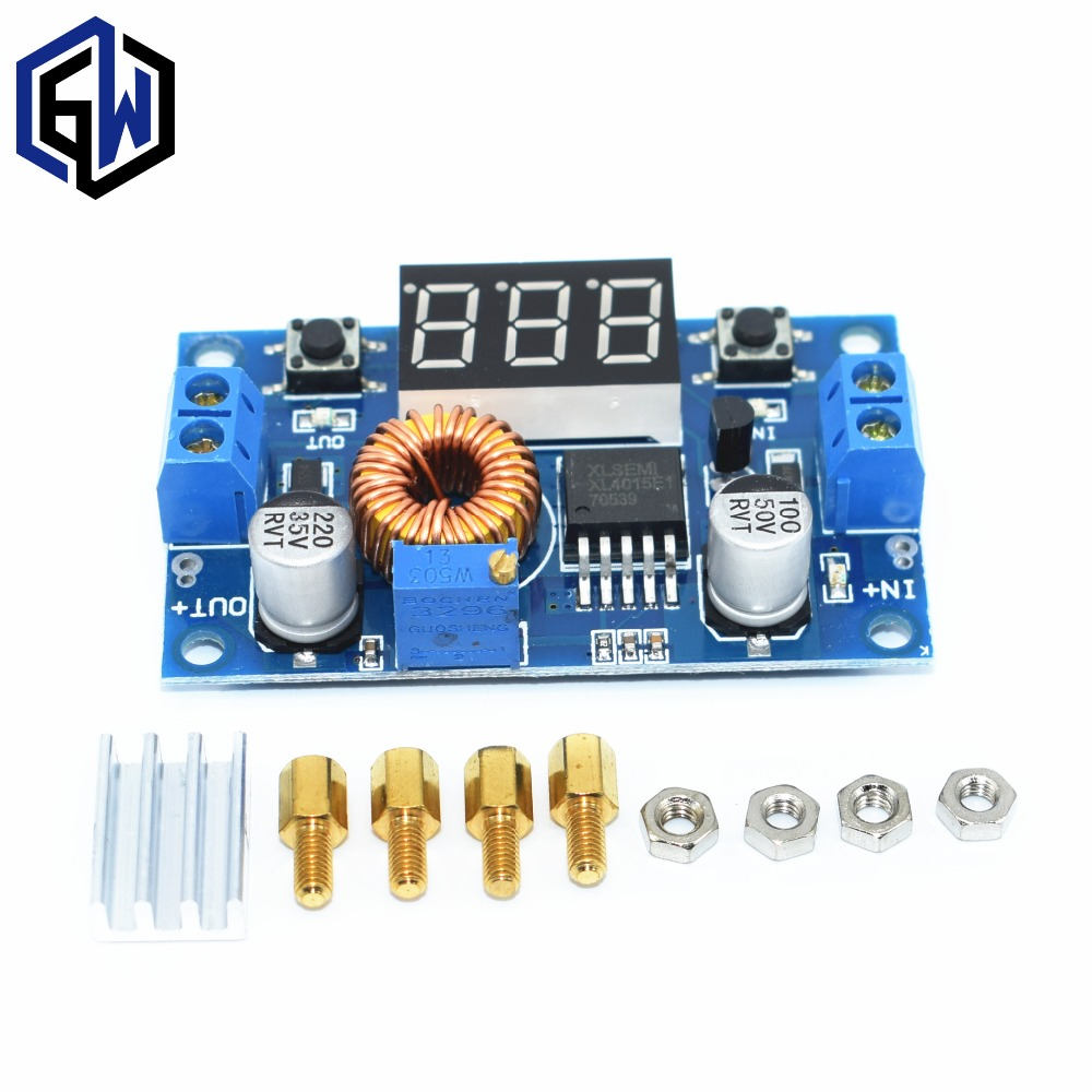 20 pcs 5A High power 75W DC DC adjustable step down module LED Voltmeter Power