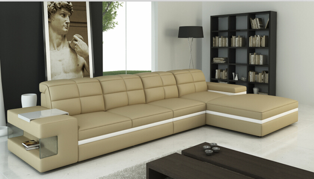 Beautiful L Shape Sofa Set Designs Sectional Sofa With Genuine Leather