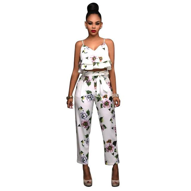 Women Summer Beach Suit Two Piece Outfits Boho Overalls Printed Spaghetti Strap Crop Top + Long Pants Female Sets WS778X