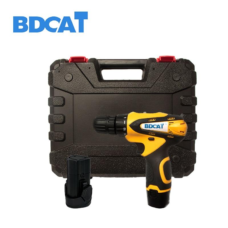 Bdcat 12 V Furadeira sem fio bateria de lítio bateria de lítio Recarregável furadeira elétrica mini broca com 2 baterias
