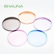 Shauna 1.56 1.61 1.67 1.74 prescrição CR 39 resina asférica colorido óculos lentes miopia hyperopia presbiopia lente óptica di