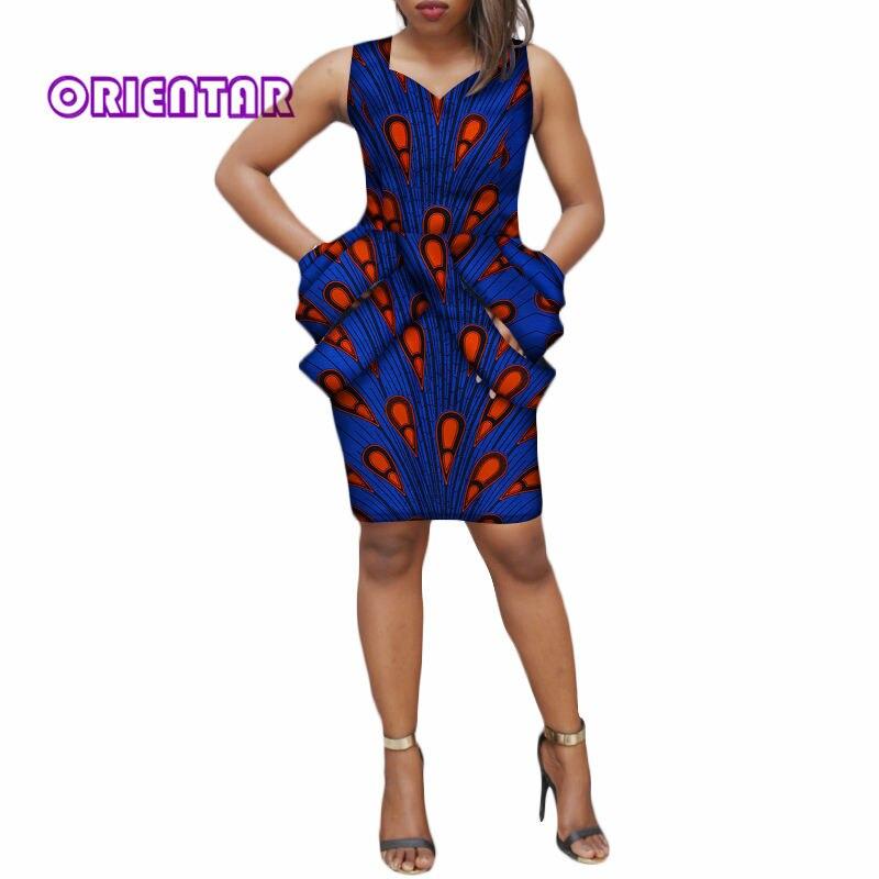 2018 mode femmes robe Bazin Riche imprimé africain sans manches robe Dashiki coton dame élégante fête robes courtes WY003