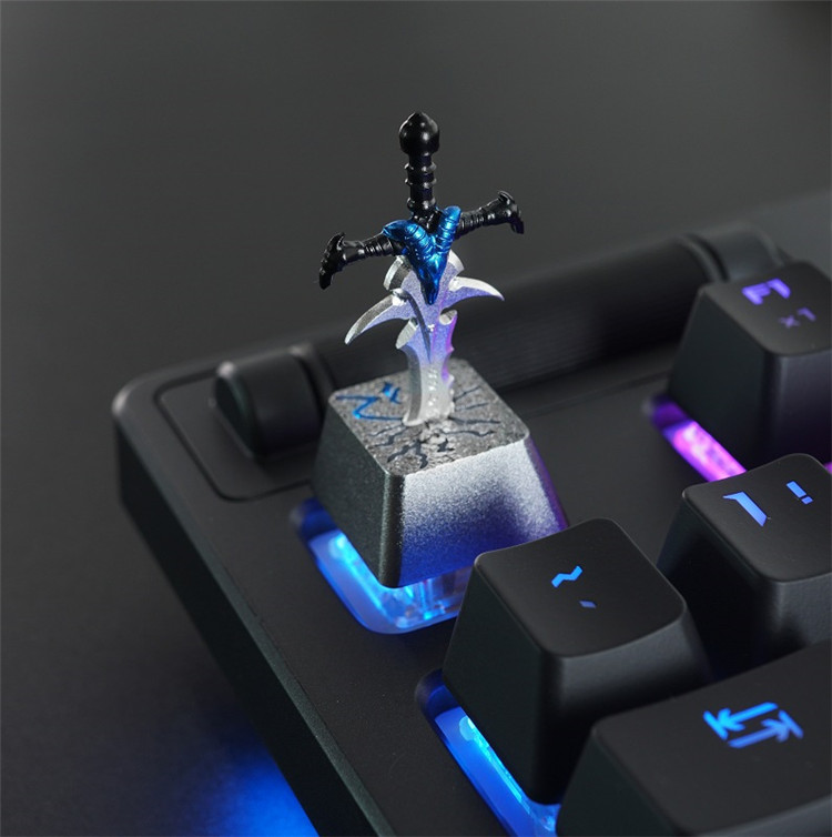 For Dota Frostmourne Sword Keycaps ESC OEM Backlight 3D Backlit Aluminum Metal Keycaps for Mechanical Gaming Keyboard titanium ring