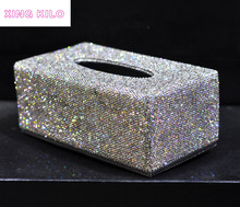 High-grade crystal diamond-studded diamond tissue box Creative paper towel tray Household pumping European-style car