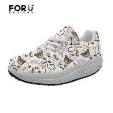 FORUDESIGNS White Cute Nurse Bear Pattern Women's Casual Swing Shoes Health Fema