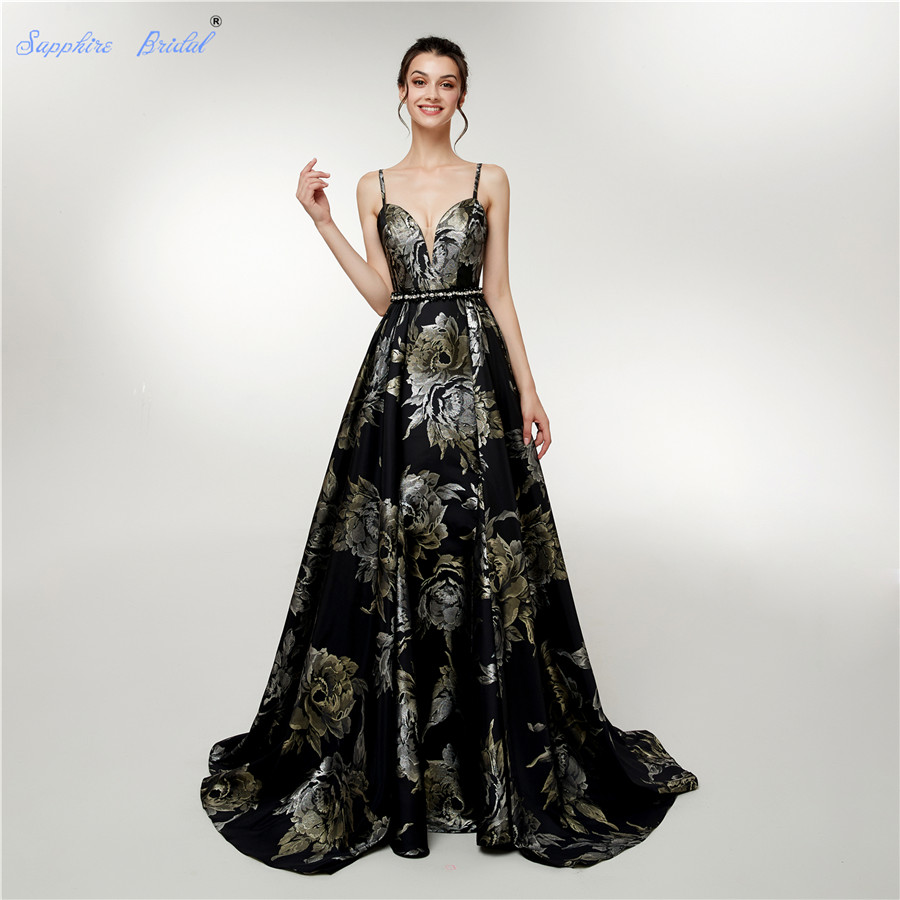 Sapphire Bridal 2019 New Womens Long Formal Gowns Vintage Black Gold ...