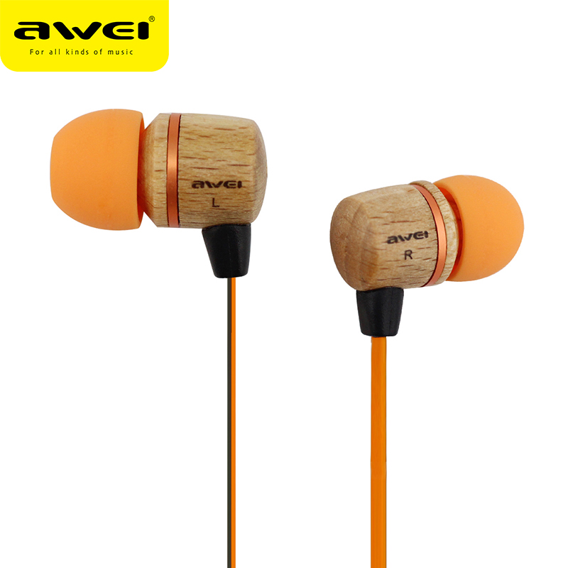 AWEI ES-16HI Wooden In-Ear Earphone Metal Heavy Bass Sound Quality Music Earphone Headset Fone De Ouvido Auriculares Audifonos
