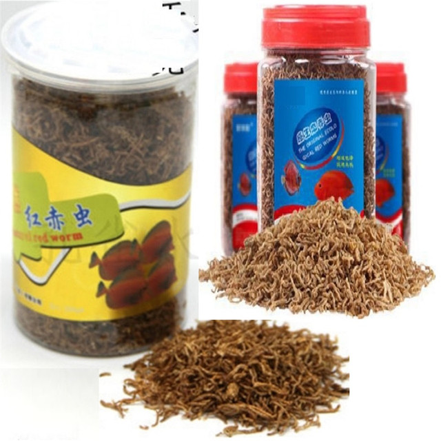 660ML Freeze Dried Blood Insect Red Worm Food Aquarium Tank Tropical Kiss Fish Discus Tetra Betta Guppy Koi Reptile Turtle Feed