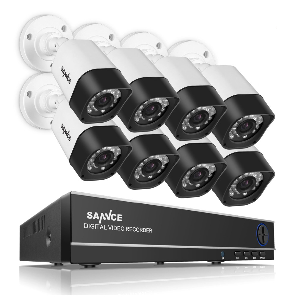 SANNCE 8CH CCTV System 720P HDMI AHD CCTV DVR 8PCS 1 0 MP IR Outdoor Security
