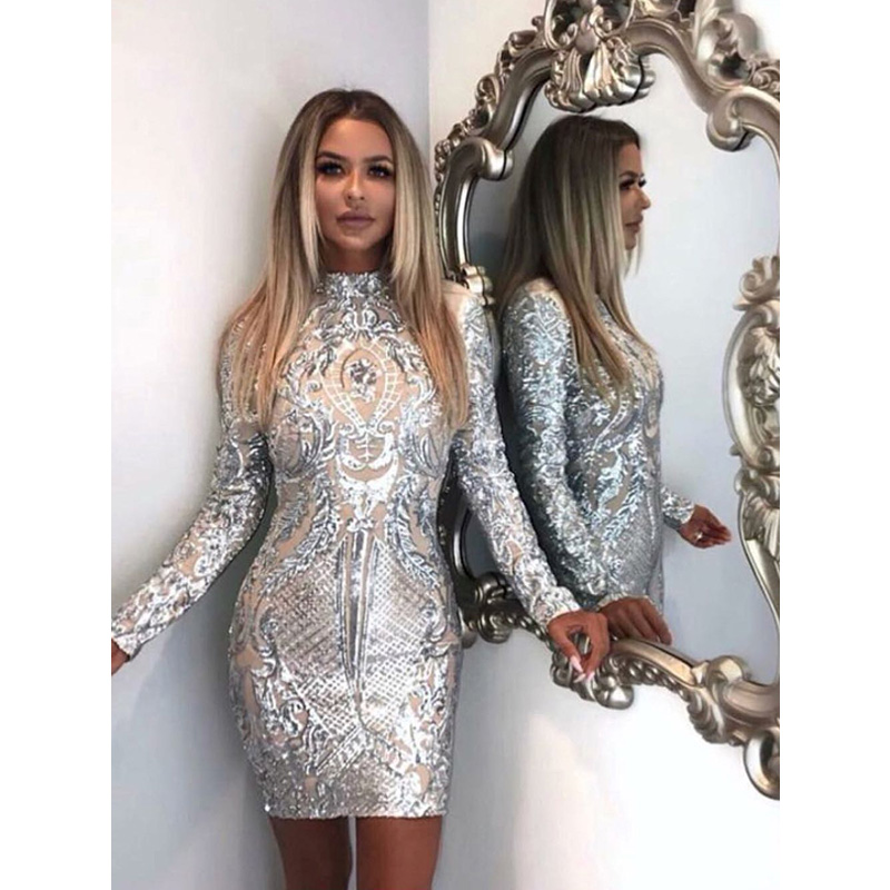 2018 Women Fashion Sheath Silver Sequin Dress New High Neck Long Sleeve Mesh Bodycon Party Dresses Chic Club Wear Mini Vestidos