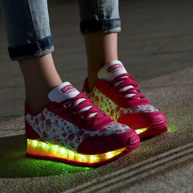 Плюс Размер 35-40 Женская Обувь Светящиеся 7 Цветов LED обувь для Взрослых Мода Светящиеся Светодиодные Обувь Женщина Sapato Feminino