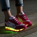 Plus Size 35-40 Sapatos Levaram Mulheres Brilhantes 7 Cores LED sapatos para Adultos Moda Luminosa Led Sapatos Leves Mulher Sapato Feminino