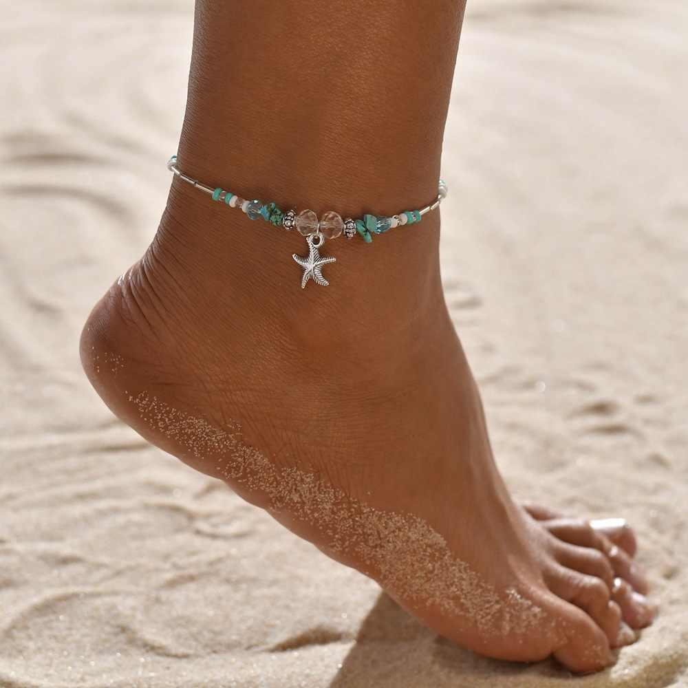 Huitan bohemia mulheres tornozeleiras bonito concha tartaruga símbolo pingente pé corrente lantejoulas borla pulso tornozelo pulseiras por atacado lotes & granel