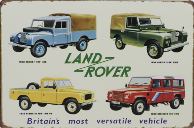 britain 39 s most versatile vehicle land rover vintage tin sign bar pub home wall decor retro metal. Black Bedroom Furniture Sets. Home Design Ideas