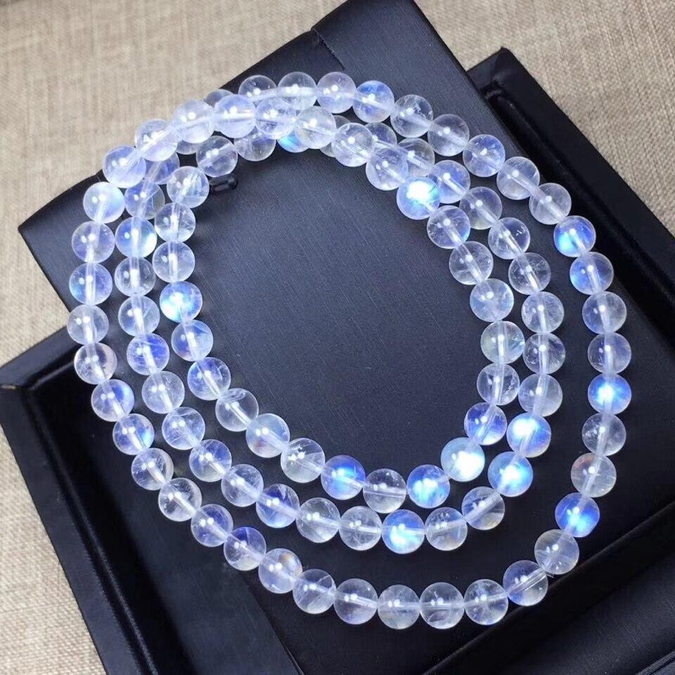 Bracelets en pierre de lune véritable bleu naturel femmes extensible 6mm naturel 3 tours cristal clair Bracelet de perles rondes AAAAA-in Bracelets et joncs from Bijoux et Accessoires    1