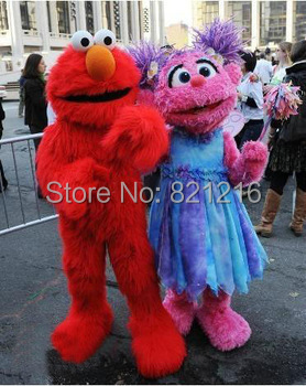 Sesame Street Red Elmo Mascot Costumes Long fur red monster Halloween Mascot s cartoon Costume for Halloween party event