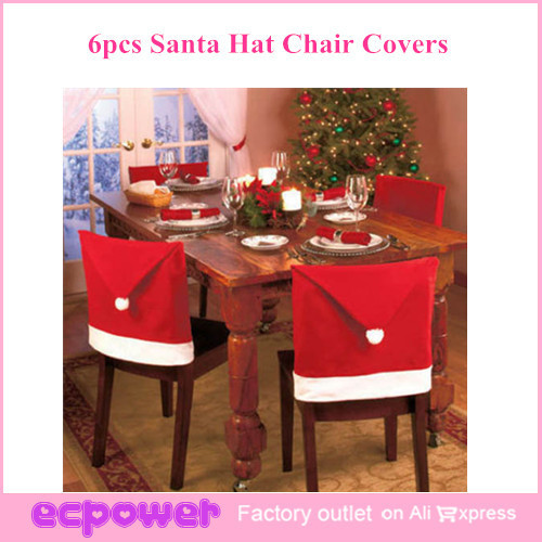 What Type Of Fabric To Cover Kitchen Chairs Corner Desk Chair 6pcs Christmas Santa Claus Hat Slip Covers Free Shipping