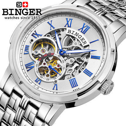 Fashion Binger Watches relogios masculinos Switzerland Army Hollow Men's Dress Wristwatches Oversize Clock Men Boy Sports Watch masculinos 100