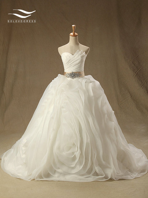 Organza Sweetheart Exquisite Wedding Dress With Sash Hot Zipper Back Beautiful Bridal Vestidos