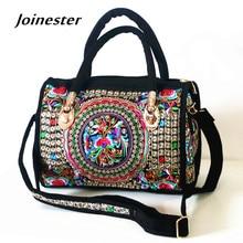 Womens Canvas Handbags Hot Sale Casual Shoulder Bag Floral Embroidered Ethnic Bag Vintage Messenger Bag Ladies Crossbody Bag