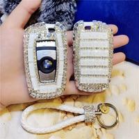 LUNASBORE Luxury Diamond bling car key case cover/ key shell for BMW 1 2 3 4 5 6 series X3 X4 Car Smart Remote Key Cover