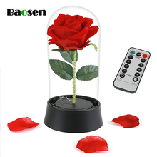 Baosen 1Pcs Creative Beauty and the Beast Red Silk Rose LED Light with Fallen Petals in Glass Dome For Christmas Valentines Day