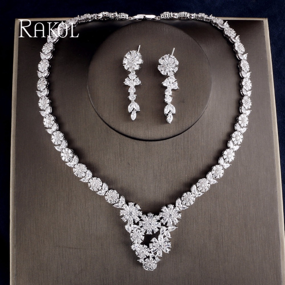 RAKOL Fashion Round Flower AAA Cubic Zircon Luxury Bridal Jewelry Set For Women Crystal White Color Jewelry Set