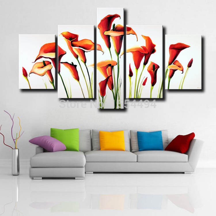 5 panels Framed hand painted modern large red calla lily flower oil ...