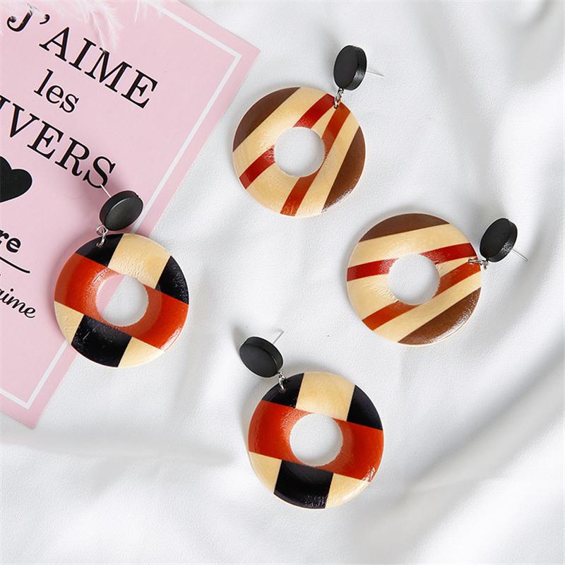 8seasons Fashion Jewelry Ear Stud Earrings Wood Round Hollow Geometric Stripe Patterns Vintage Donuts For Women 1 Pair Stud Earrings Aliexpress
