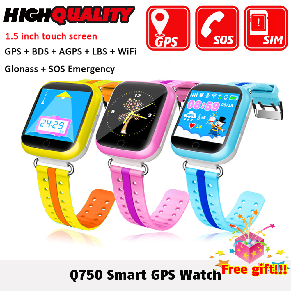 Новый GPS Смарт-часы Q750 q100 Baby Smart часы 1.54 дюйма Сенсорный экран SOS вызова расположение устройства трекер для малыша безопасный PK Q50 Q90