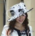 La nueva moda caliente sombreros formales mujeres elegantes sombreros de raso vestido de sombrero de pie cintas arcos con Ladies ' 100% poliéster Made