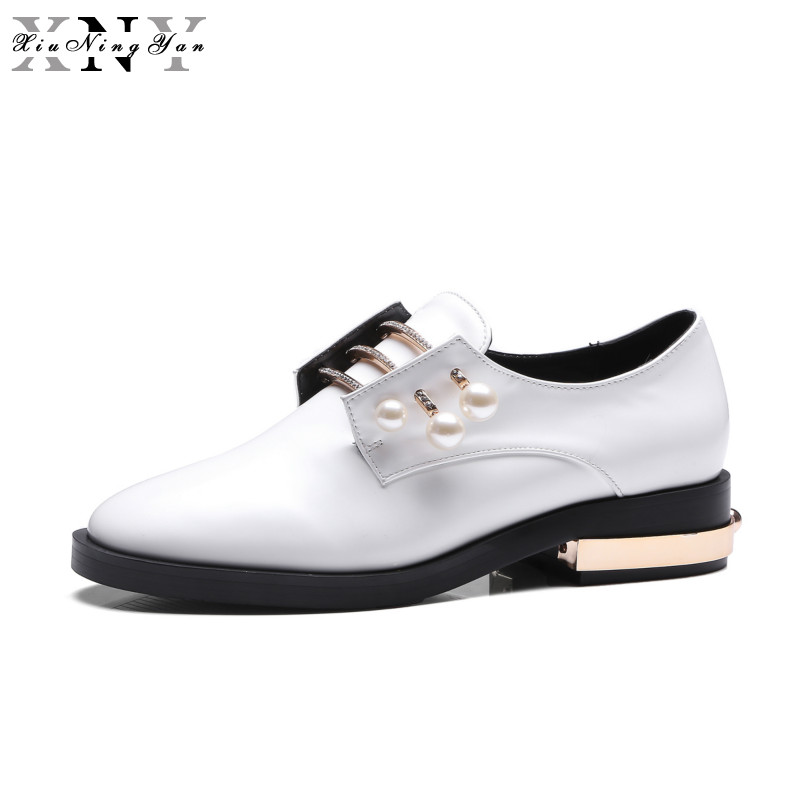 XiuNingYan Women Flats Brand ShoesTop Quality Loafer Handmade Pearl Beads White Black Casual Brogues Derby Shoes