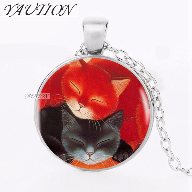 YAUTION 2018 Red Black Sleeping Cats Pendant Choker Statement Silver Necklace For Women Dress Accessories Glass Cabochon Jewerly
