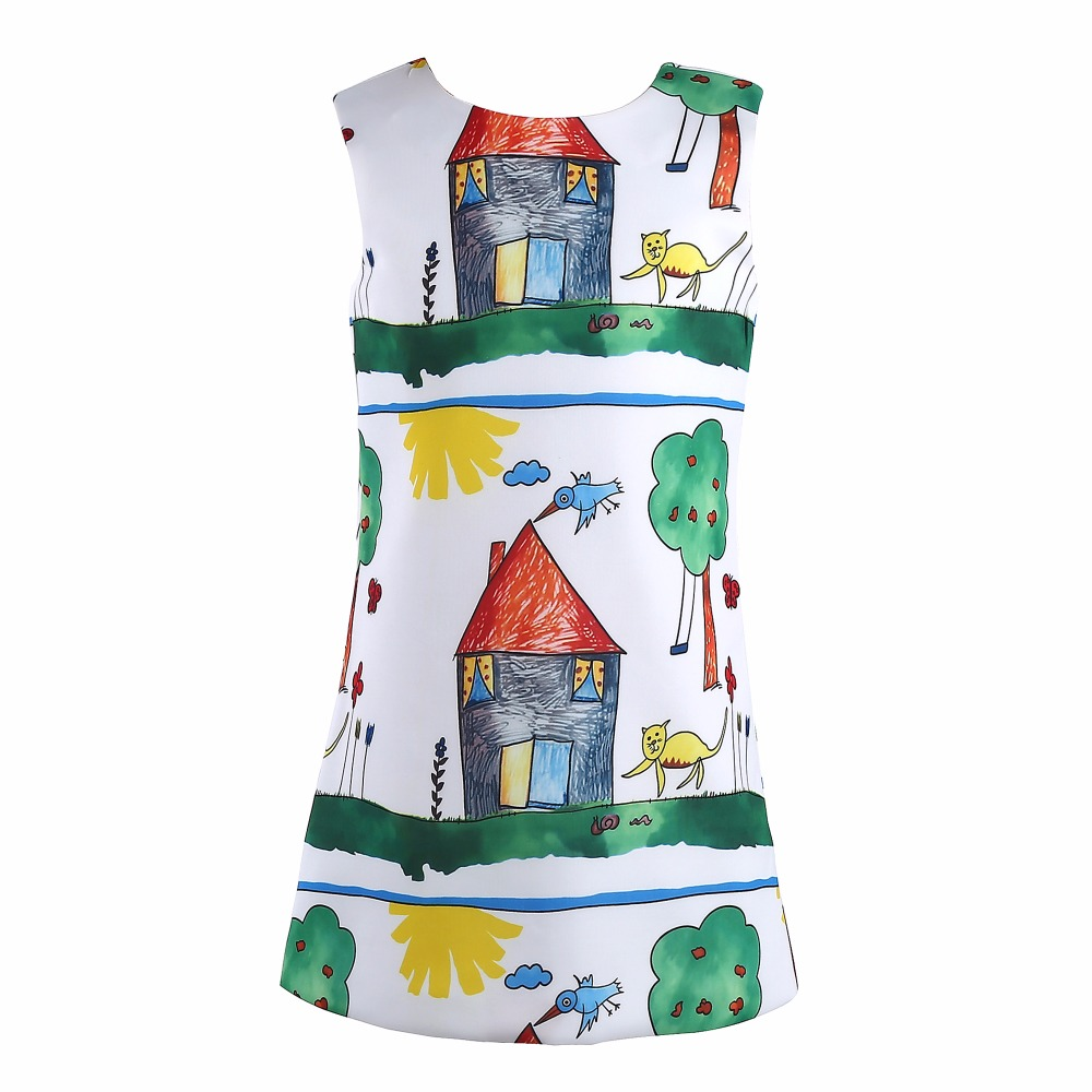Baby Girls Dress Christmas 2015 Brand Princess Dress for Girls Clothes Graffiti Pattern Designer Kids Dresses Children Clothing girls dresses winter 2017 brand children dress princess costumechild dog cat house print pattern kids dresses for girls clothes