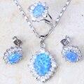 Замечательный дизайн синий огненный опал серебро 925 stamp позолоченный набор ювелирных изделий для Обручальное Ювелирный Бренд Устанавливает PT001