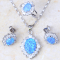 Wonderful design blue fire opal silver 925 stamp plated Fashion jewelry set for Engagement Brand Jewelry Sets PT001