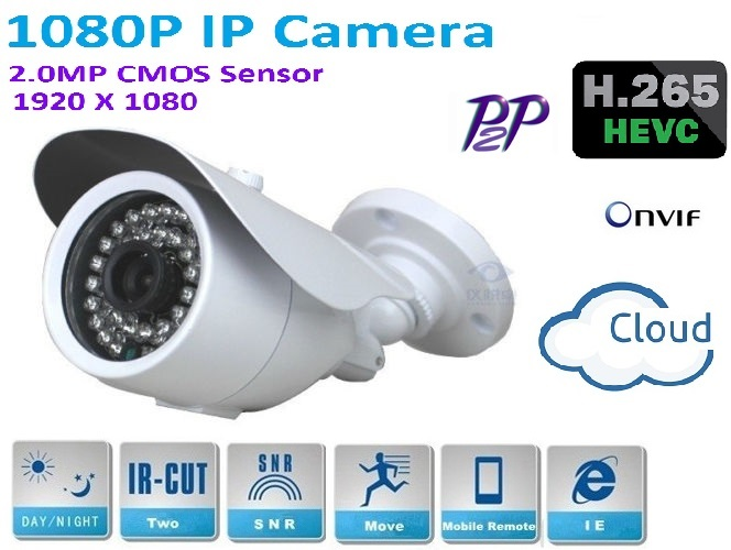 H.265 Outdoor waterproof 1080P IP Camera 1920*1080 2.4 MP CCTV 1080P network Camera with P2P, IR Cut Filter ,ONVIF plug and play h 264 2 0mp mini 1080p ip camera cctv full hd 1920 1080 indoor security network camera withp2p onvif ircut filter plug and play