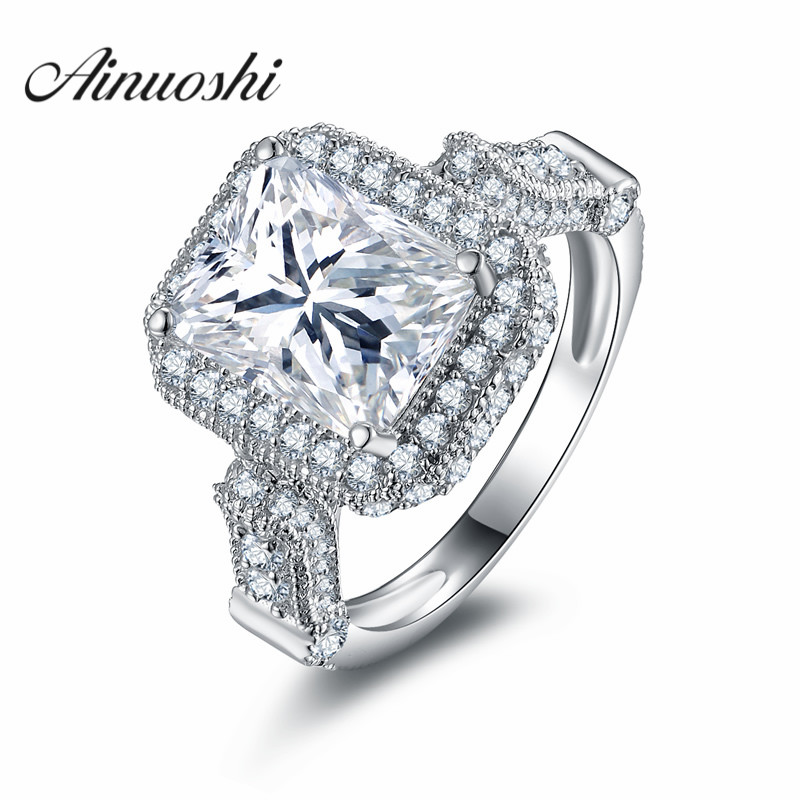 735708770 Ainoushi أعلى جودة 2.5 ct مستطيل قص sona الزفاف خاتم الخطوبة 925 الفضة خاتم  الخطوبة الفاخرة العصرية مجوهرات