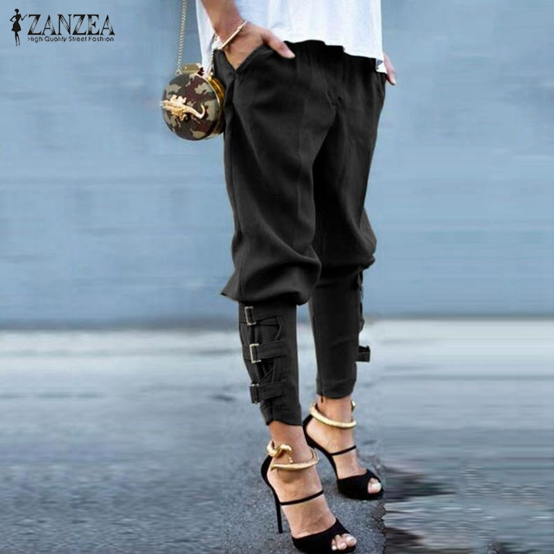 ZANZEA Women 2018 Summer Autumn Women Harem Pants Casual Loose Elastic Waist Long Pants Leisure Trousers Army Green Plus Size