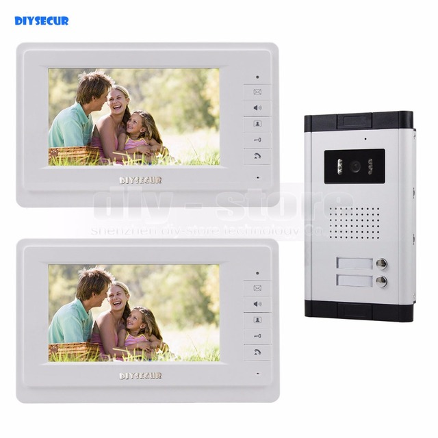 "DIYSECUR 7"" Apartment Video Intercom Doorbell Video Door Phone System IR Camera Touch Key For 2 Families"
