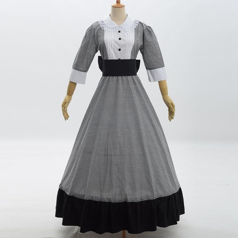Викторианский для женщин гражданская война горничной длинное платье Винтаж reactation бальное