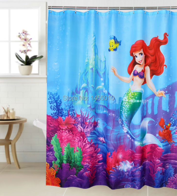 Happy Tree Polyester Terylene Mermaid Fish Sea Vedenpitävä suihkuverho Thicken Fabric Kylpyhuoneen verho Lovely Bath Curtain